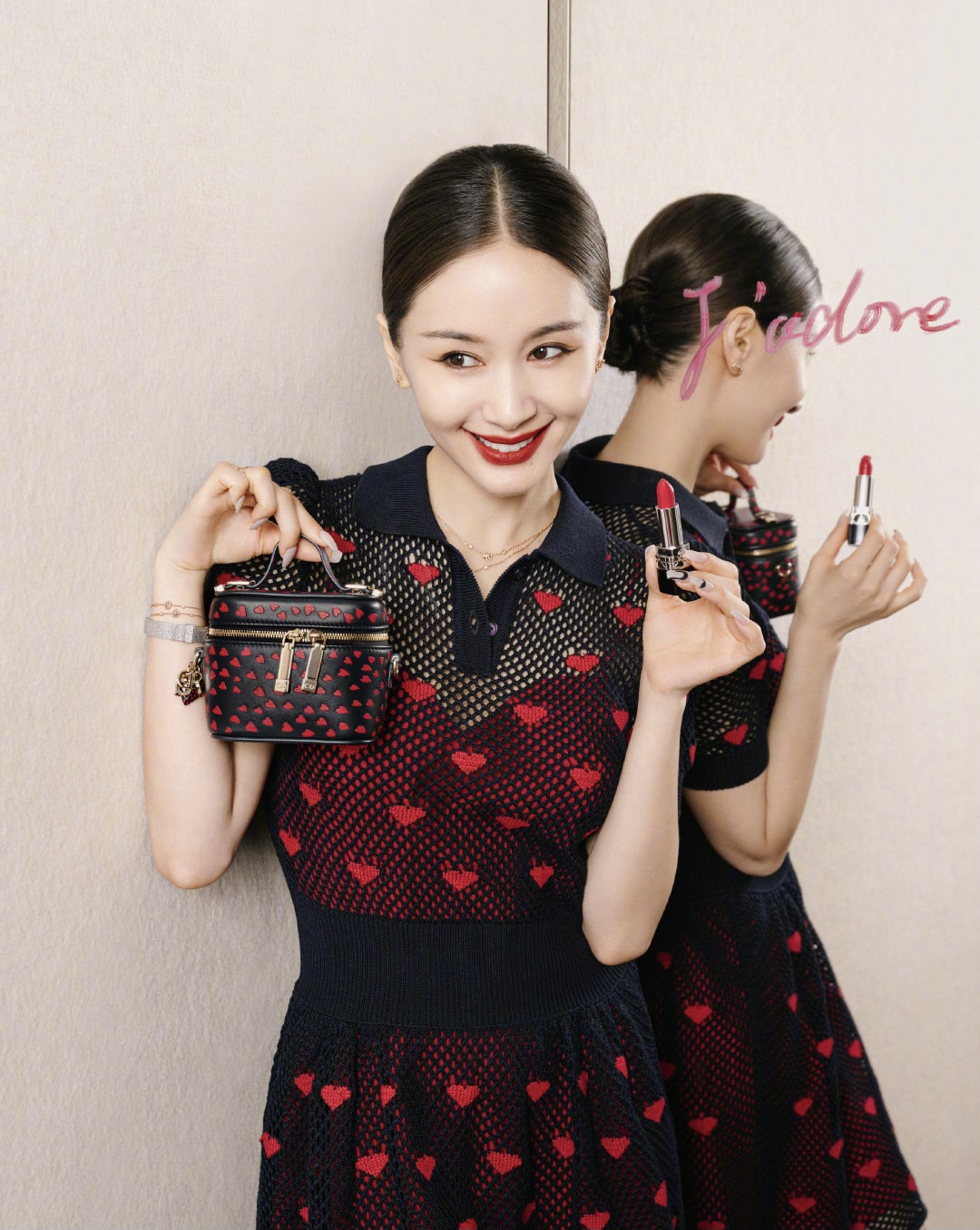 Dior's cosmetic China ambassador Wang Ziwen showcasing items from the brand's 520 capsule.