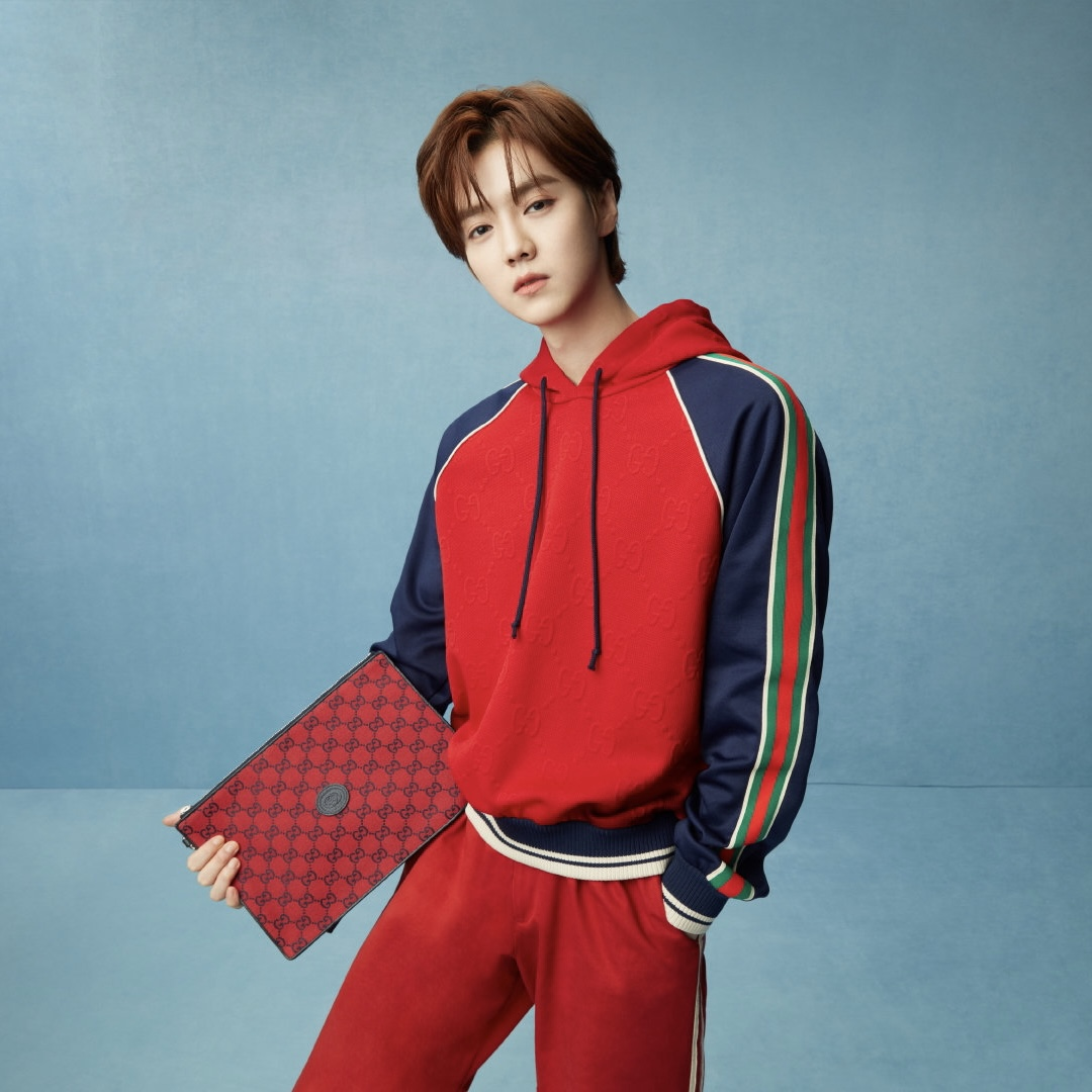 Gucci's China brand ambassador Lu Yan wearing items from the brand's 520 capsule collection.