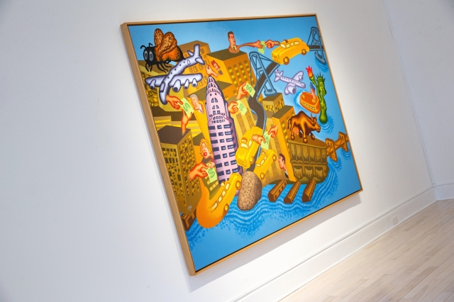 """Installation view of Peter Saul """"New Paintings"""" at Venus Over Manhattan."""