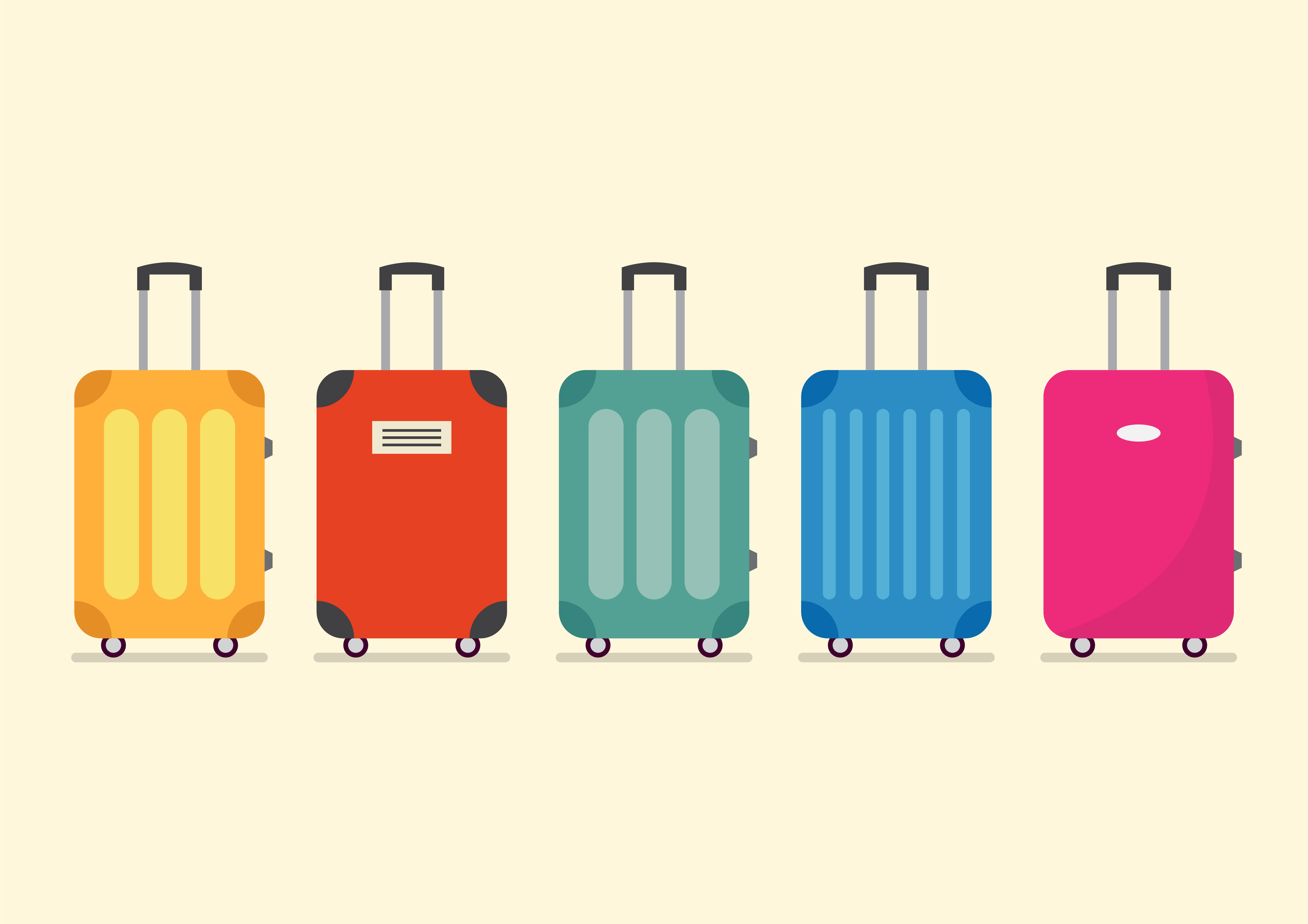 Travel luggage set for vacation and journey. Vector illustration