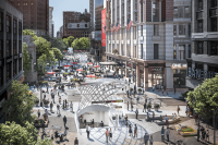 Macy's vision for making Herald Square more pedestrian friendly.