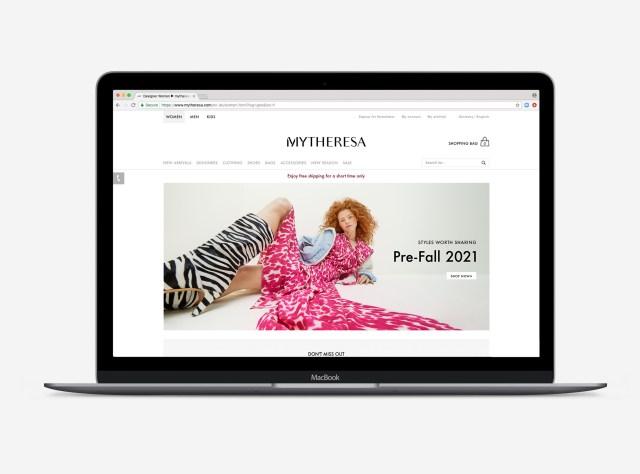 Mytheresa's homepage.