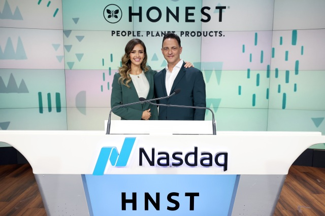 The Honest Co.'s Jessica Alba and Nick Vlahos ring the opening bell at the Nasdaq Stock Market.