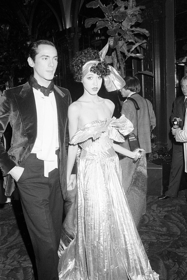 Pat Cleveland and Martin Snaric attend Halston's disco bash at Studio 54 in New York on December 12, 1977.