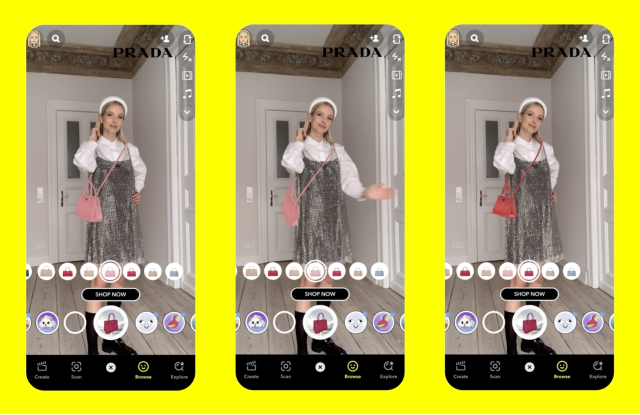 A look at Prada's new AR experience for its Galleria bag in Snapchat.