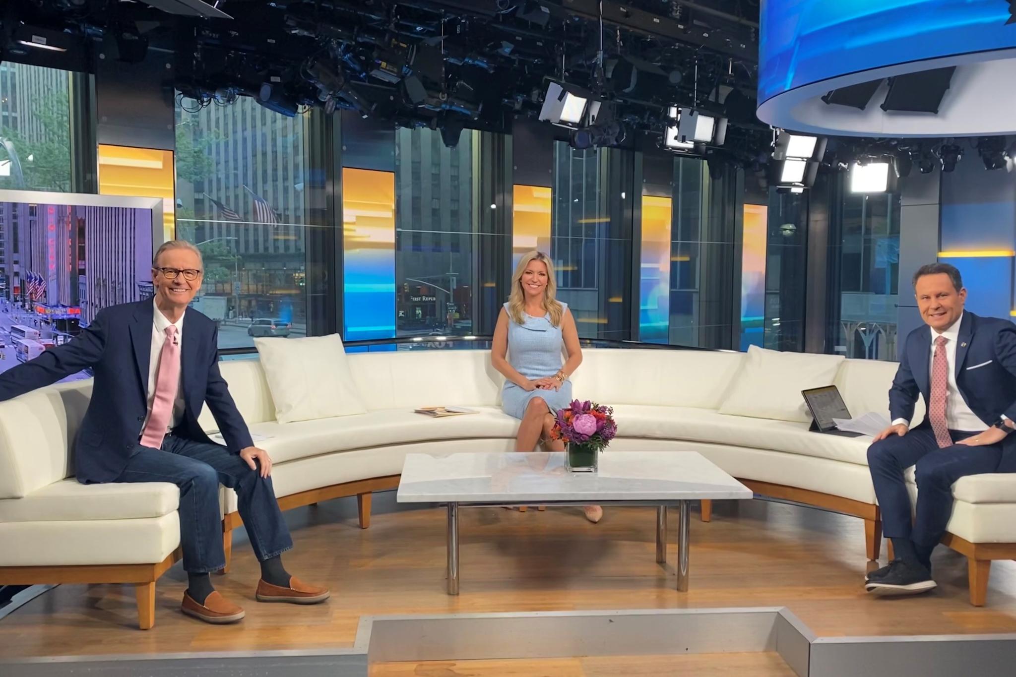 Fox & Friends co-hosts Steve Doocy, Ainsley Earhardt and Brian Kilmeade return to their sofa.