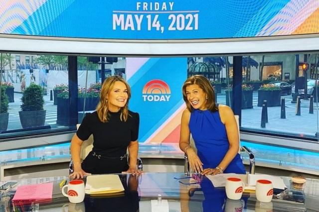 Today show co-hosts Savannah Guthrie and Hoda Kotb on the set of the NBC show last Friday.