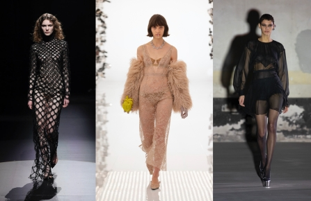 For fall 2021 designers offered their take on sensuality. From left to right: Valentino, Gucci, No. 21 RTW Fall 2021.