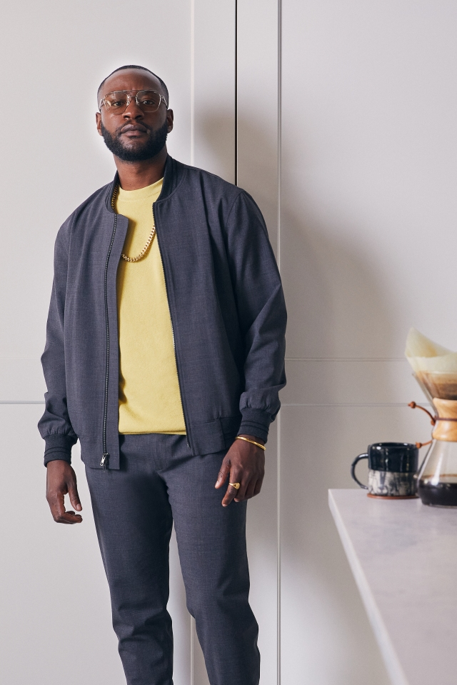 """June79 charcoal gray """"Essentials"""" jacket and trousers."""