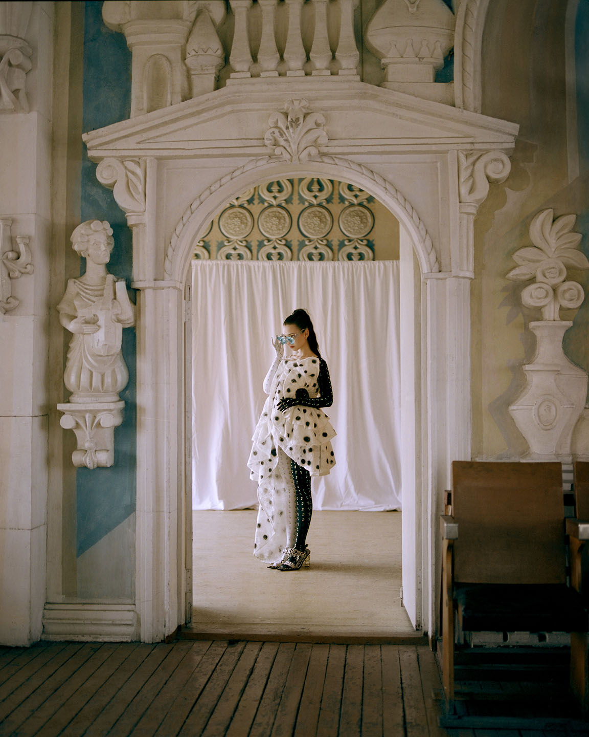 """Aya Shalkar wears a design from Florentina Leitner for the """"Future of Fabric"""" competition."""