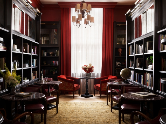 Inside the hotel's library.