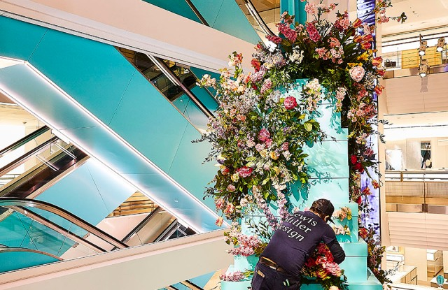 Lewis Miller's floral installations at Tiffany's Store Next Door.