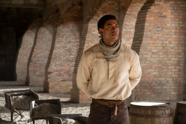 """Aaron Pierre in a still from """"The Underground Railroad."""""""