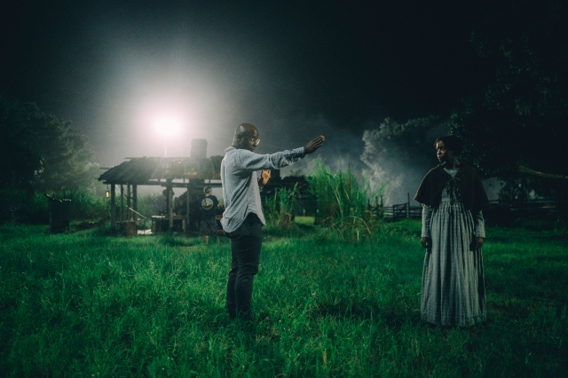 """Director Barry Jenkins and Thuso Mbedu on set for """"The Underground Railroad."""""""