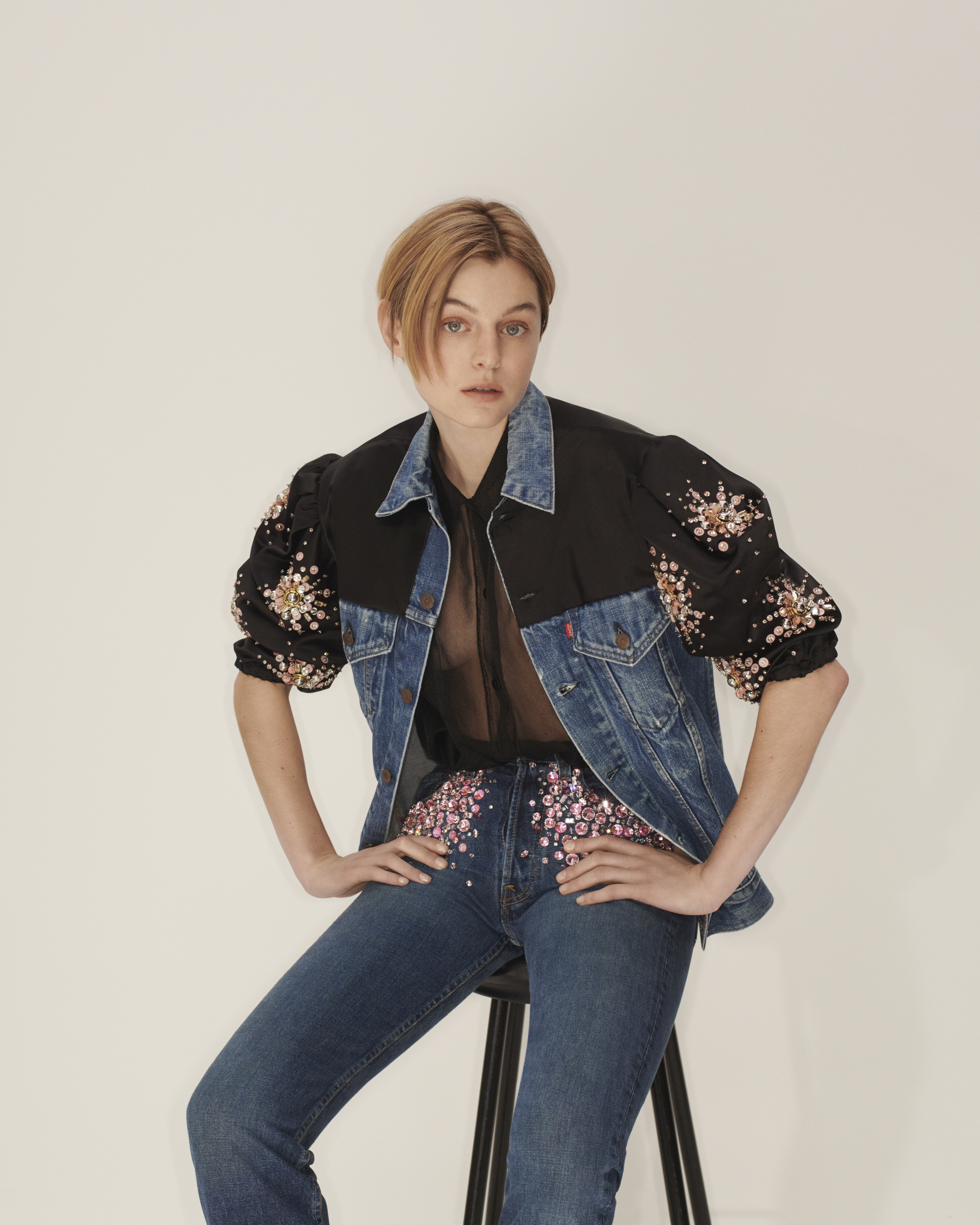 Emma Corrin for Upcycled by Miu Miu in collaboration with Levi's