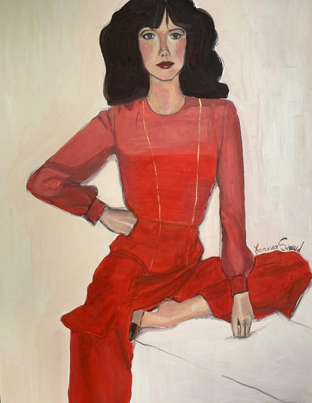 "Vanessa Seward's painting ""Sylvia in Red."""