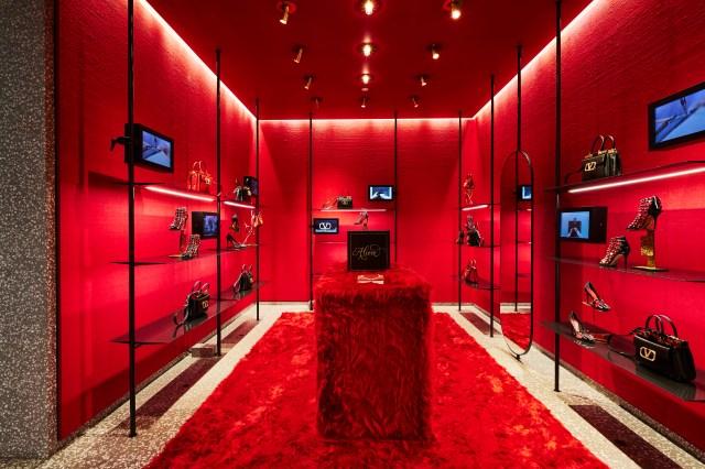 The Rockstud Alcove display inside the Valentino store on Milan's Via Montenapoleone developed with Betony Vernon.