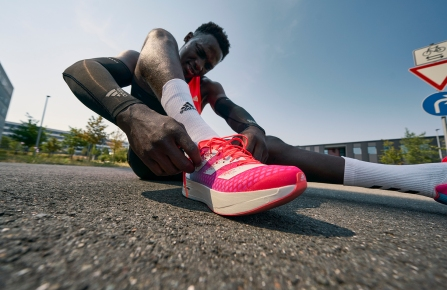 A promotional picture of Adidas' premium running shoe, the adizero pro.