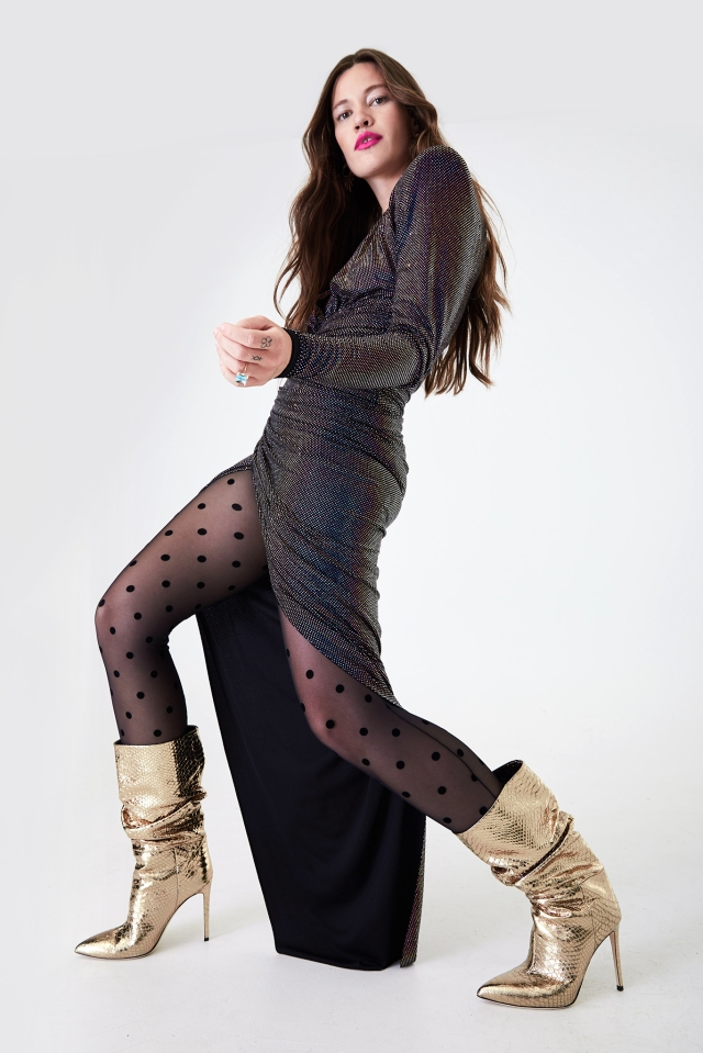 Paris Texas' gold slouchy boot. Alexandre Vauthier metallic blue stretch jersey micro crystal dress and Calzedonia micro flock polka-dot tights.