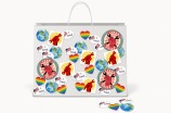 shopping bag with poltical stickers