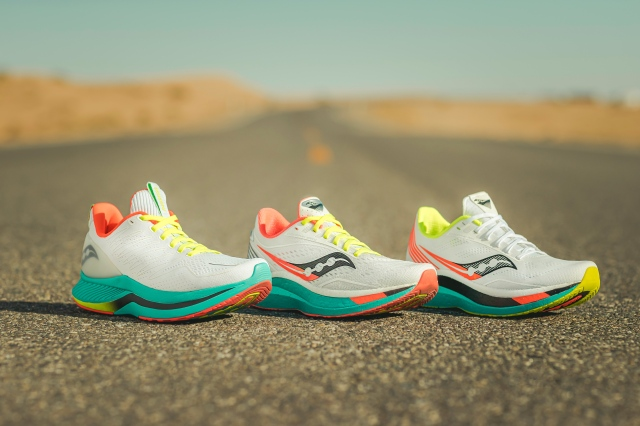 saucony sneakers on a road