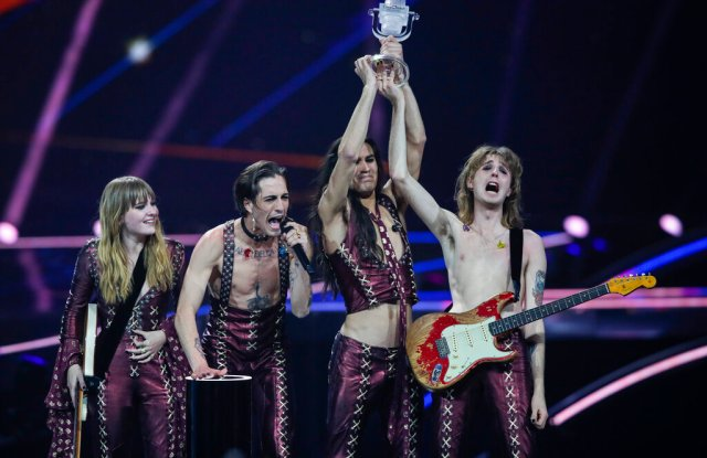Maneskin from Italy receive the trophy after winning the Grand Final of the Eurovision Song Contest at Ahoy arena in Rotterdam, Netherlands, Saturday, May 22, 2021. (AP Photo/Peter Dejong)