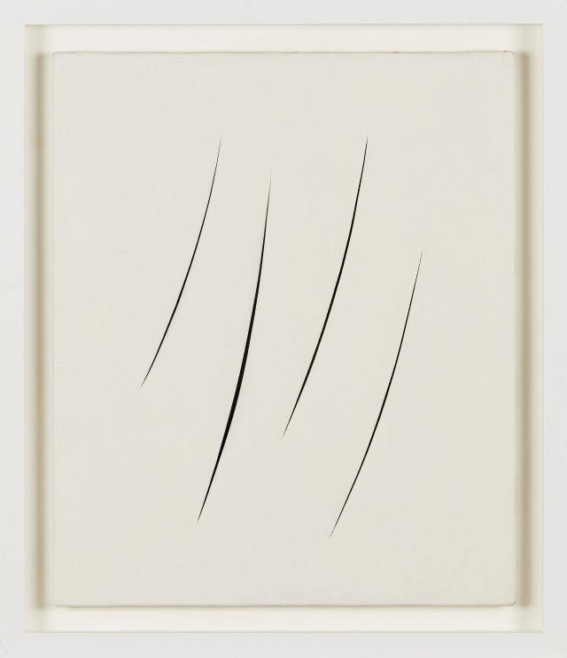 Lucio Fontana, Concetto Spaziale, Attese, s.d., water-based paint on canvas. Dart museum, Milan.
