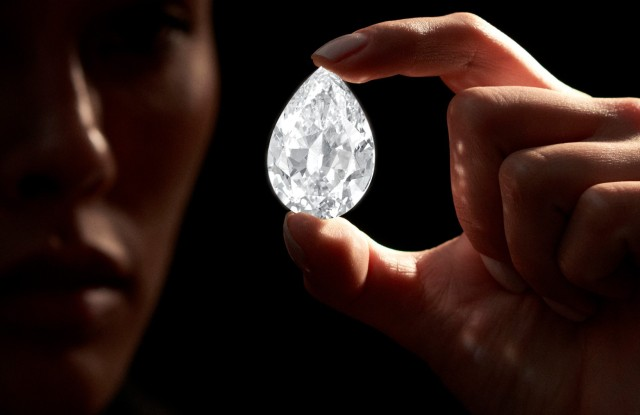 The 101.38 carat flawless diamond for auction at Sotheby's.