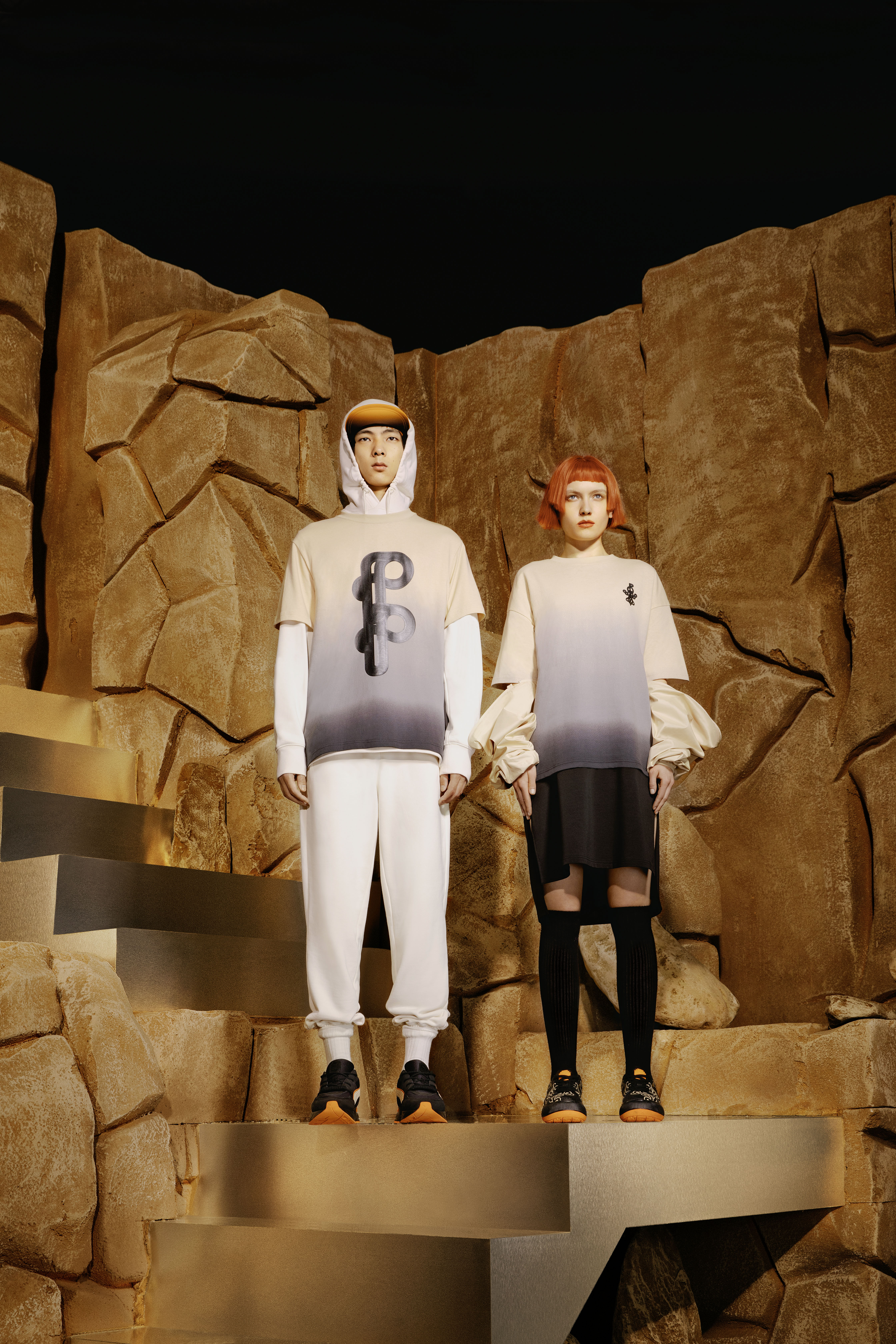 Two looks from Puma x Pronounce collaboration.