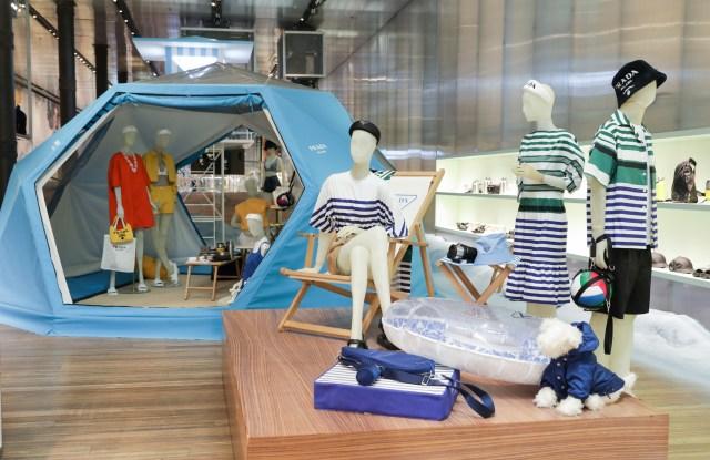 Prada's Broadway store has been transformed into a fun-filled beach scene.