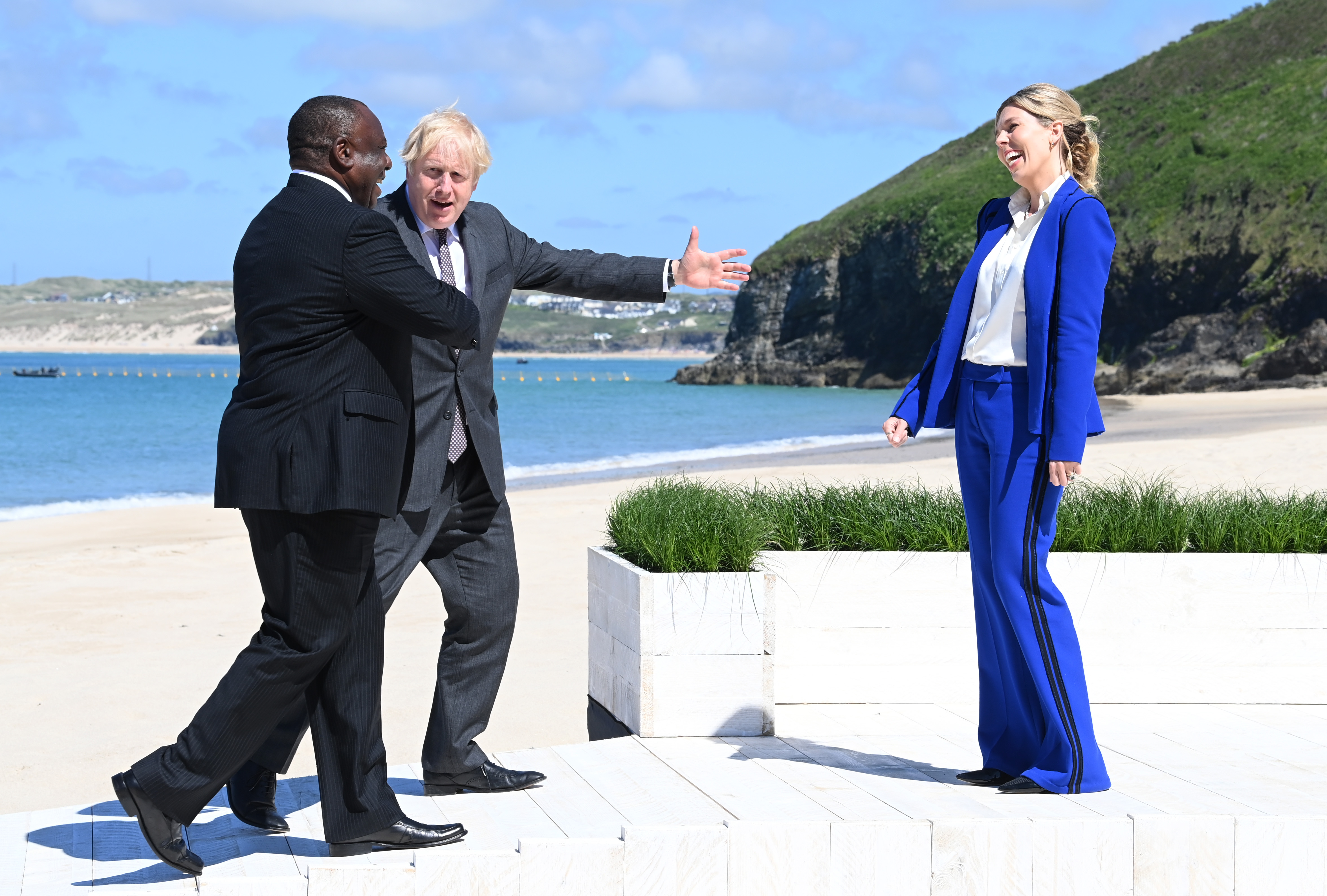 Boris Johnson and wife Carrie meet His Excellency Cyril Ramaphosa, President of South Africa at The Carbis Bay Hotel.12th June.Copyright: David Fisher/ G7 Cornwall 2021