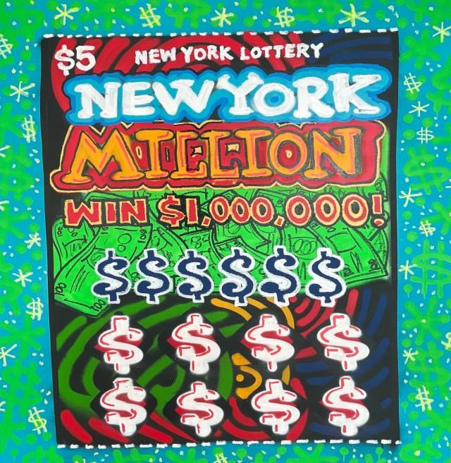 """New York Million,"" mixed media on canvas."