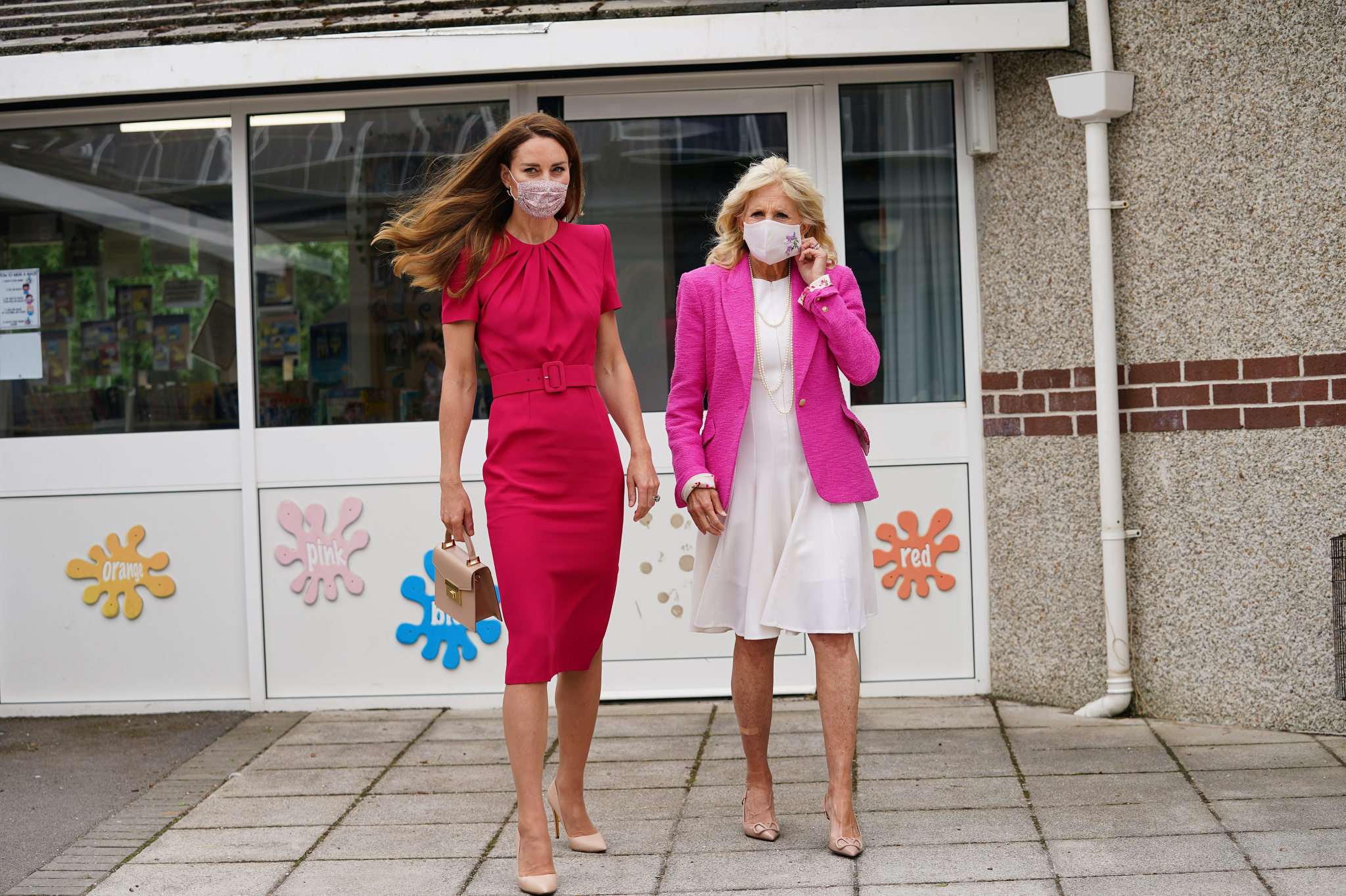 Kate Middleton and Jill Biden visit to Connor Downs Academy in Hayle, West Cornwall.