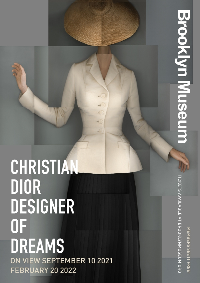 """The poster for the """"Christian Dior: Designer of Dreams"""" exhibition at the Brooklyn Museum."""