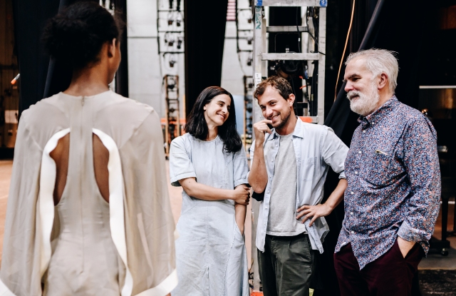 Cortázar with choreographer Andrea Miller (L) and NYCB costume director Marc Happel (R) as they plan costumes.