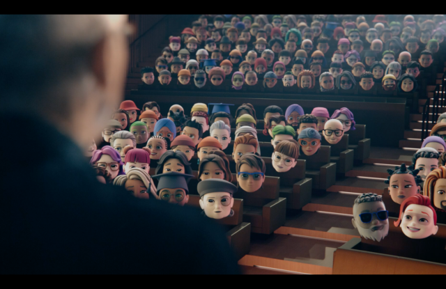 Apple CEO Tim Cook addressing a virtual memoji audience at WWDC 2021 on Monday.