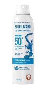 Los mejores protectores solares para pieles sensibles, Blue Lizard Mineral Sunscreen Sensitive SPF 50+ Spray