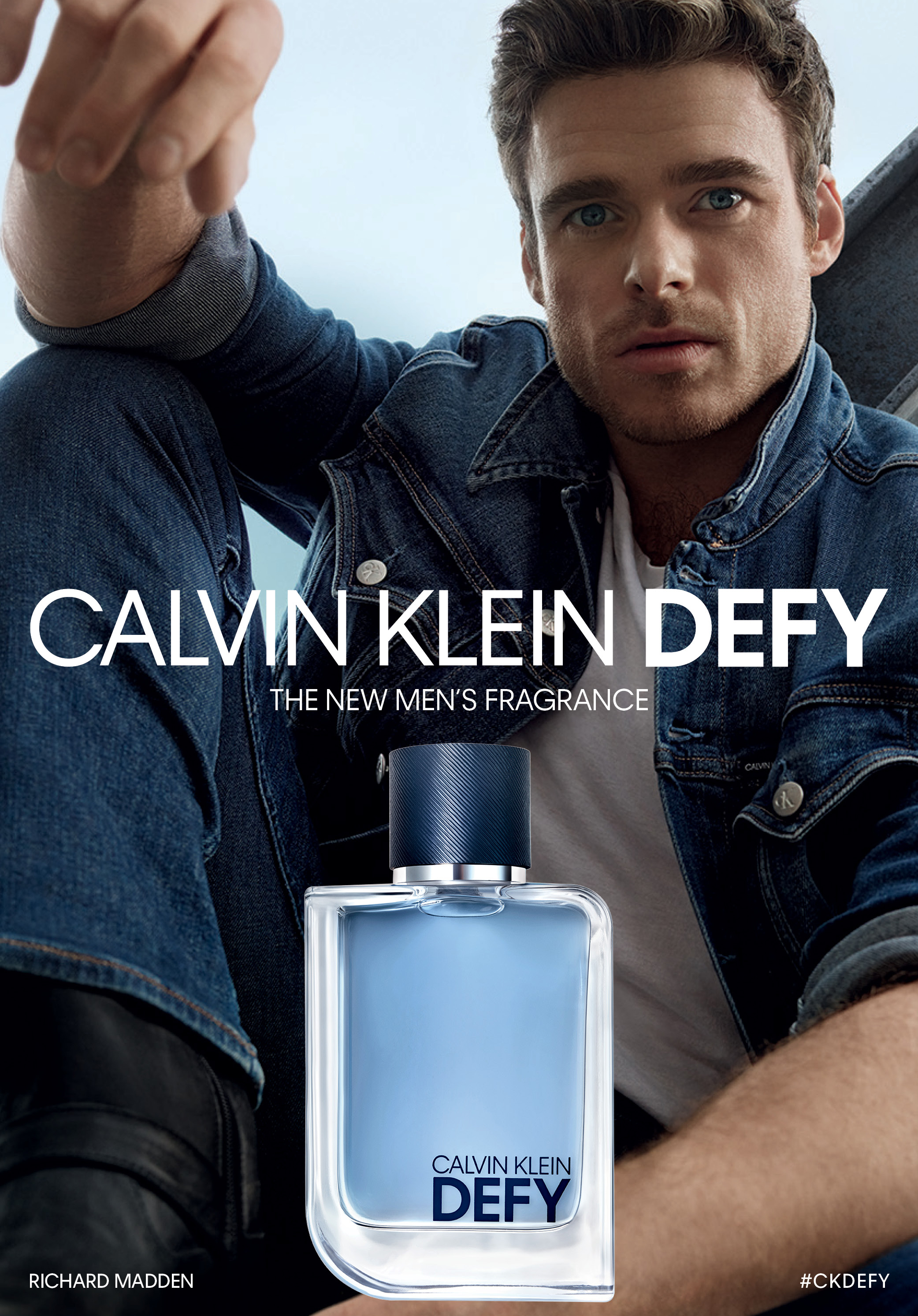 A campaign image for Calvin Klein Defy, starring the Scottish actor Richard Madden.