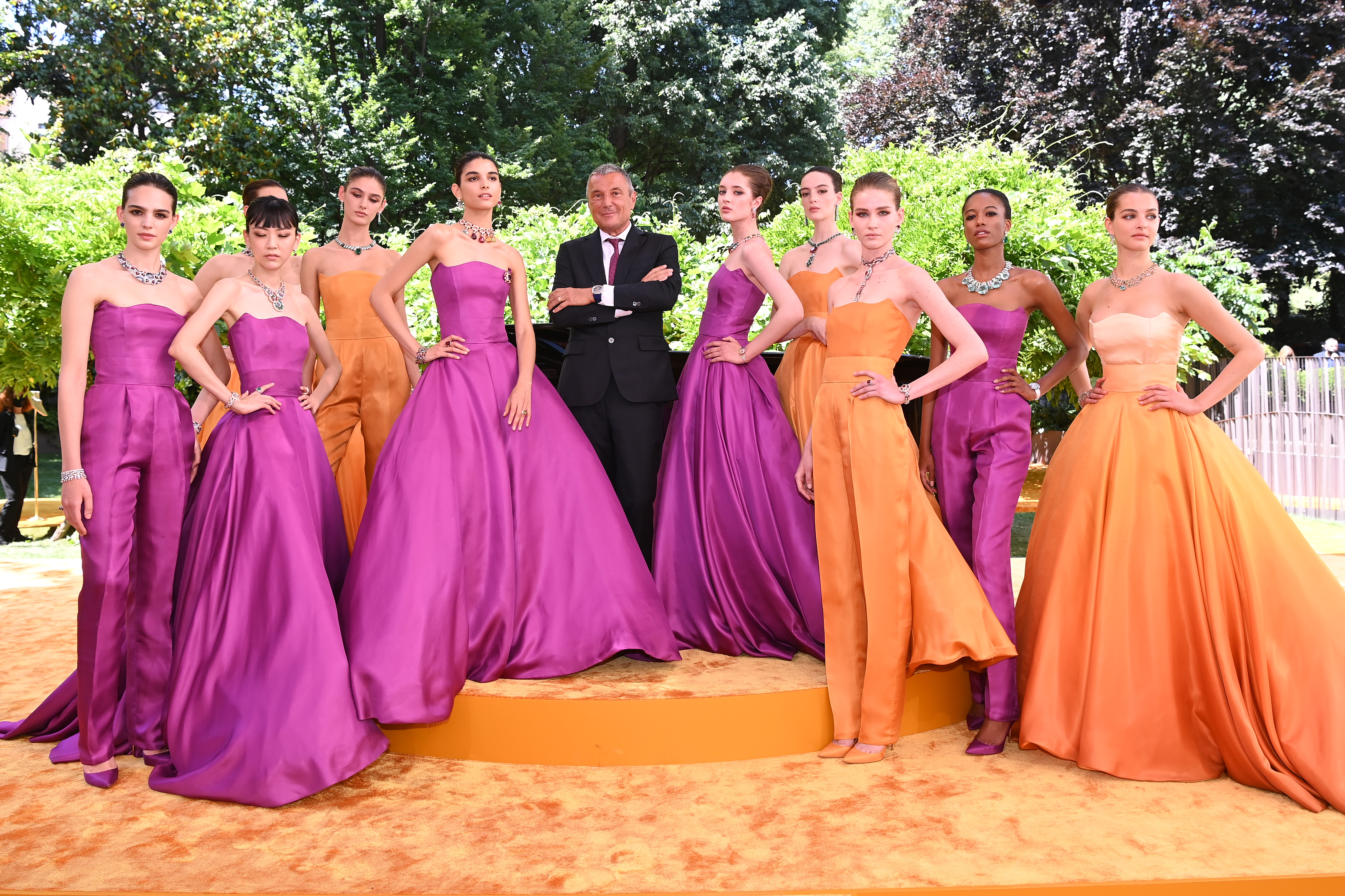 MILAN, ITALY - JUNE 04:  Jean-Christophe Babin and models are seen on the stage at the Bvlgari Press Lunch on June 04, 2021 in Milan, Italy. (Photo by Daniele Venturelli/Daniele Venturelli/Getty Images for Bvulgari )