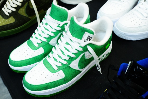A Nike Air Force 1 sneaker developed by Nike and Louis Vuitton.