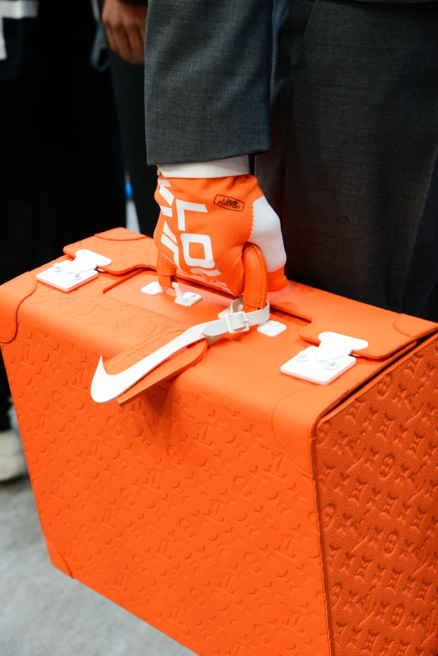 A sneaker trunk developed by Nike and Louis Vuitton.