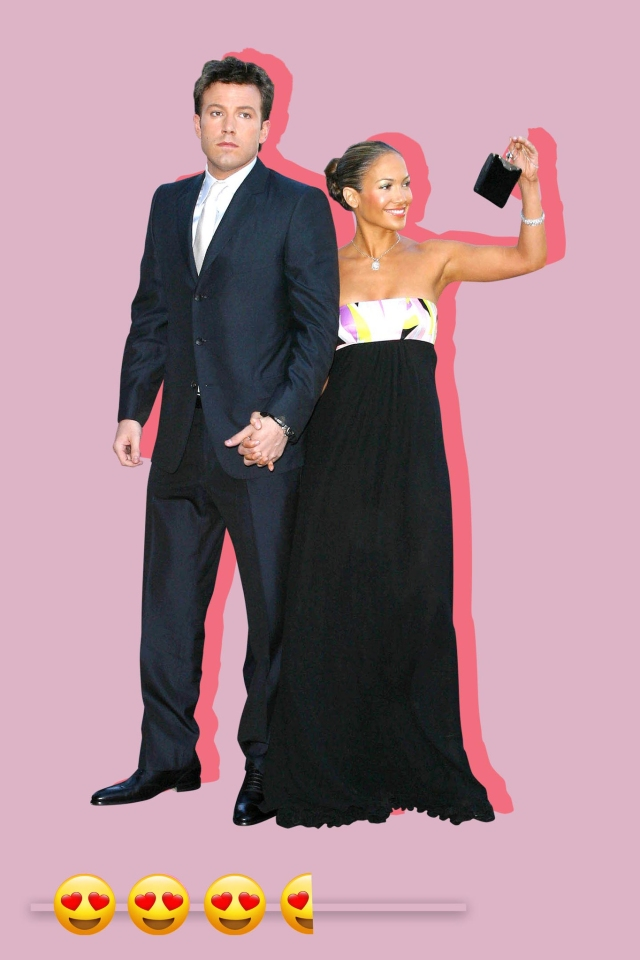 """Ben Affleck and Jennifer Lopez at the premiere screening of """"Daredevil""""."""