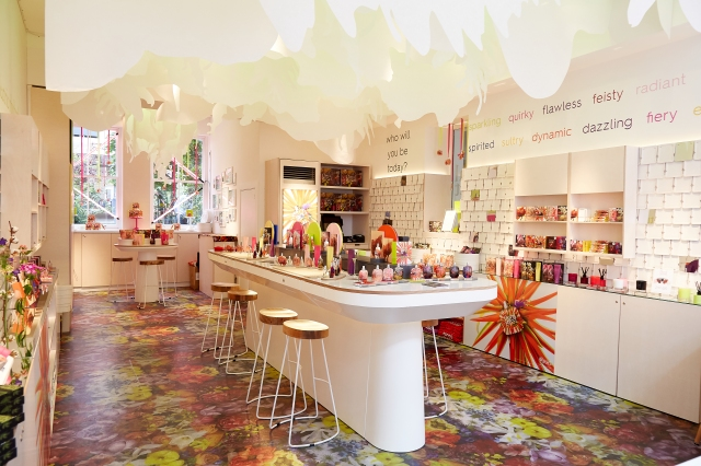 The Floral Street store and testing table in Covent Garden.