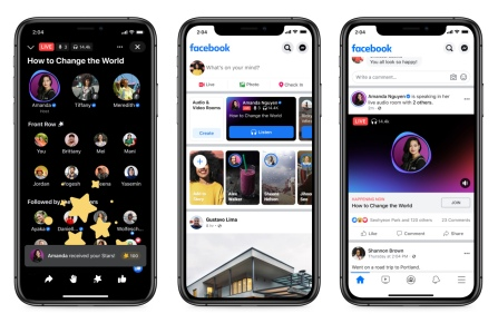 Facebook officially announces Live Audio Rooms, as well as a new podcast service. These are the first of several new audio features to come, the company said.