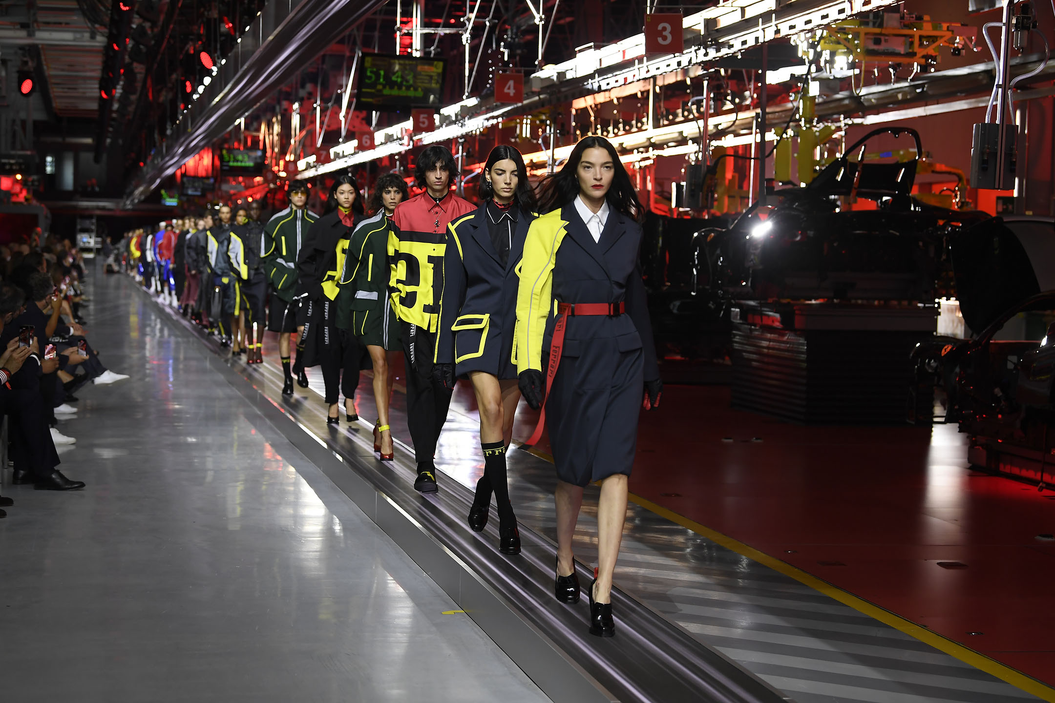 Looks from Ferrari's first fashion show.