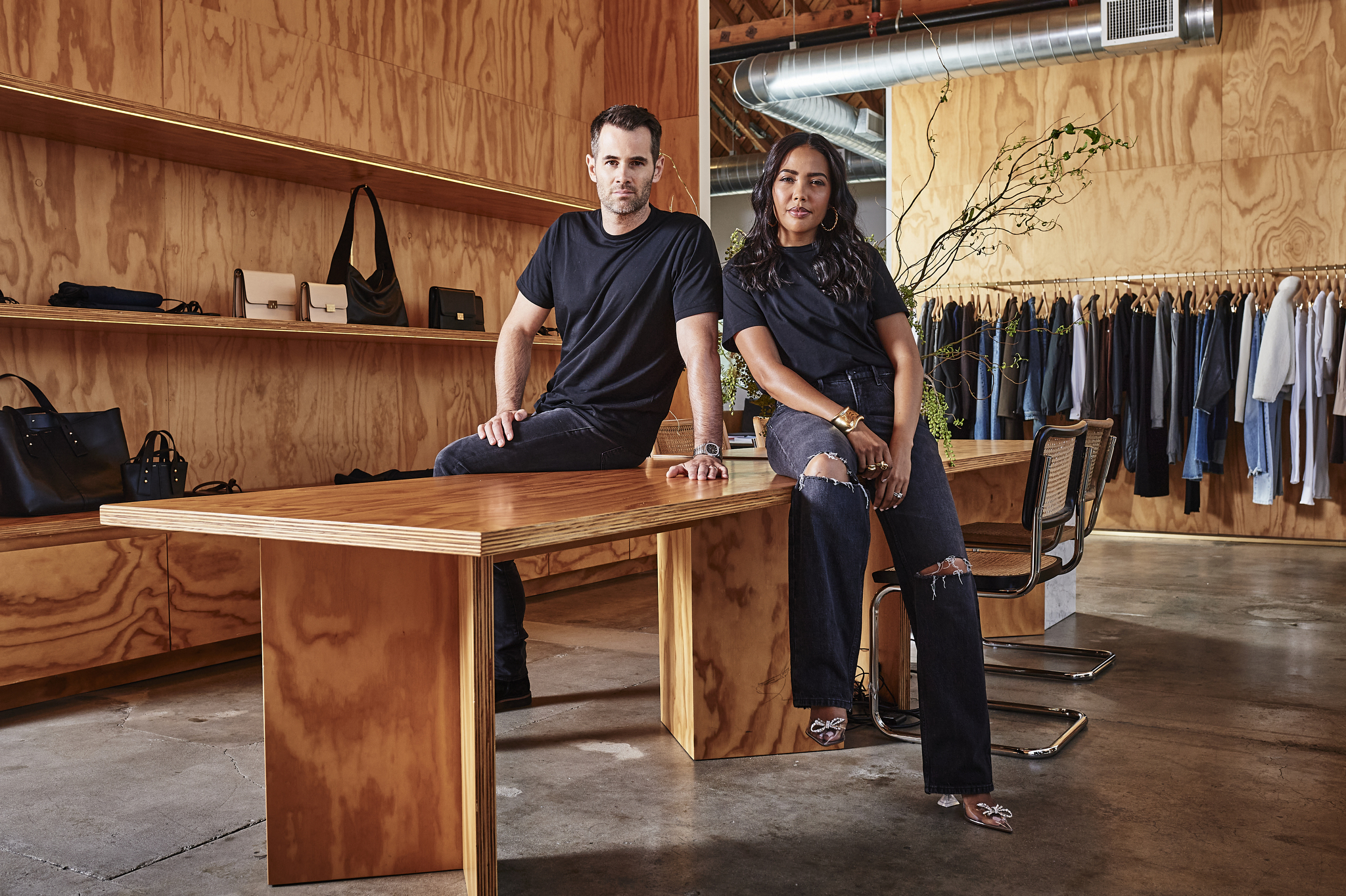 Jens Grede and Emma Grede at the Frame office in Culver City, California.