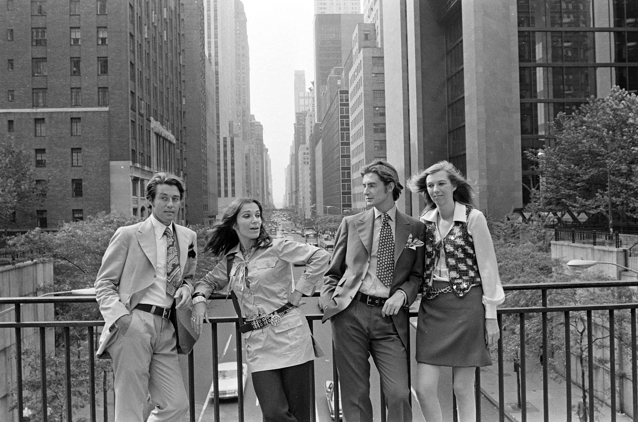 Designer Roy Halston, fashion editor Frances Stein, fashion executive Joanne Creveling and designer Joel Schumacher photographed along East 42nd St in New York City.