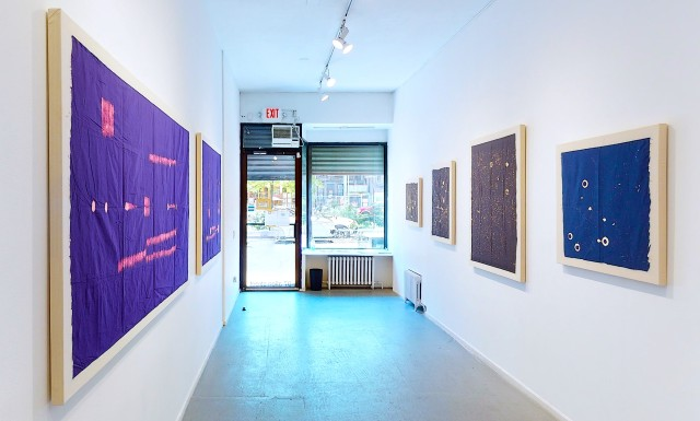 Installation view of Natalie White: The Bleach Paintings at Freight+Volume.
