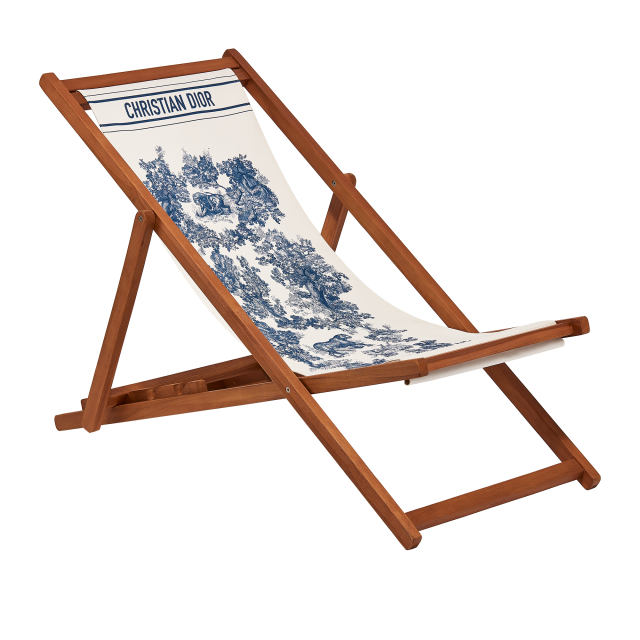 A Toile de Jouy deckchair, part of the Dioriviera offer.