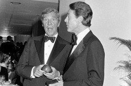 David Mahoney and Halston attend a benefit event at Bloomingdale's in New York City on September 21, 1976.